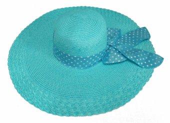 harga D & D Collection Beach Straw Hat Women Wide Brim / Topi Pantai Brim Lebar Pita Polkadot (Biru Turkis) Lazada.co.id
