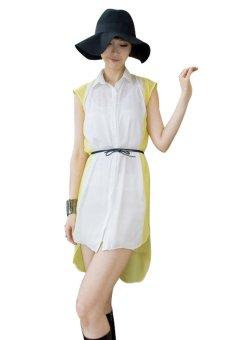 Kakuu Basic Belt Set Coloration High Low Dress - Kuning