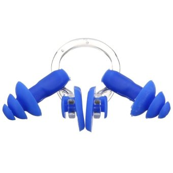 Waterproof Soft Silicone Swimming Set Nose Clip Ear Plug Earplug Useful Tool(Blue) - Intl