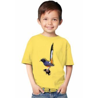 harga NSClothing Kaos 3D Kids Burung Murai Batu kuning Lazada.co.id