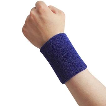 Wristband Sports Wrist Sweatbands Squash Badminton Running Gym (Dark Blue) (Intl)