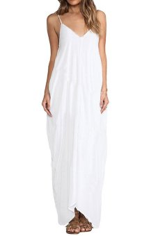 Toprank Summer Fashion Deep V-Neck Beach Dress Long Dress Spaghetti Strap Backless Maxi Dress ( White )