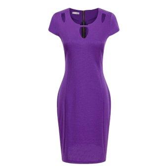Women Sexy Hollow Slim Dress DR602-2 (purple) - Intl