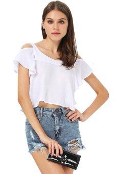 UJS White Off The Shoulder Butterfly Sleeve Irregular Hem Vest Crop Top M-XL (White) (Intl)