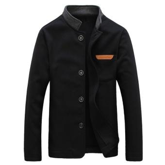 Men's Mid Thickness Stand Collar Jacket (Black)- Intl