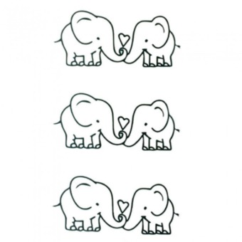 Cute Elephant Removable Waterproof Temporary Tattoos Body Art Tattoo Stickers Black