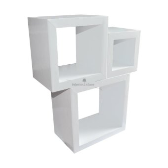 harga Interior Store Rak Dinding Box Putih Minimalis Dekorasi Ruangan Floating Shelves 3 Pcs Lazada.co.id