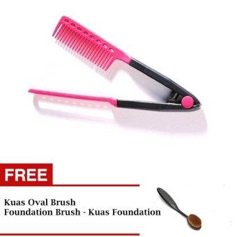 JBS Sisir Ion Pelurus Rambut + Kuas Oval Brush - Foundation Brush / Kuas Foundation