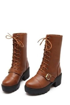 High Heel Lace Up Ankle Boots (Brown) (Intl)