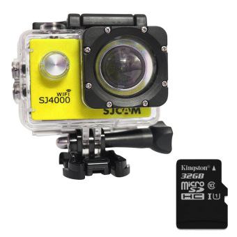harga Mini Action Camera 1080P Full HD SJCAM SJ4000 WIFI Sports ActionCamera (Yellow) + Extra Micro SD Card Kingston Class10 32GB - Intl Lazada.co.id