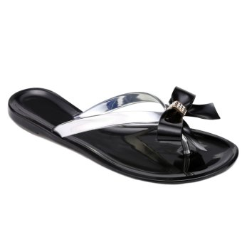 Whyus OEM Fashion Women Summer Bow Flat Casual Flip Flops Sandals(Black) - INTL
