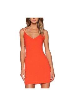 Spaghetti Strap Deep V Neck Mini Dress (Orange)