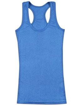 2014 Fashion Spring Summer Women Slim Crew Neck Sleeveless Basic Vests Tank 13 Colors Drop Shipping 8314 Blue