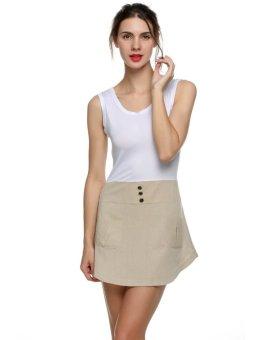 NEW Stylish Lady Women's Fashion Casual Sleeveless Slim Bodycon Pocket Mini Patchwork Dress (White) - Intl