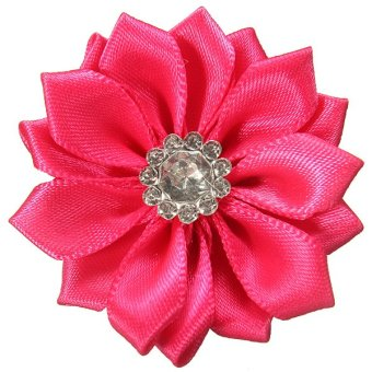 Satin Ribbon Flowers Bows Appliques Sewing Wedding Craft DIY Hair Accessories (Rose Red)- Intl