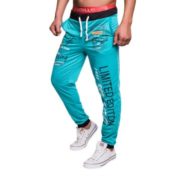 EOZY FASHION Men Sport Sweat Pants Korean Style Male Casual Pants English letters Pattern Baggy Dance Training Running Jogging Trousers (Light Blue) (Intl)