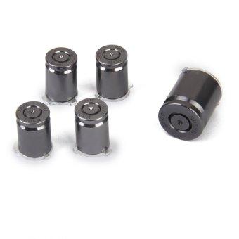 BolehDeals Set of 5Pcs Aluminum Bullet Buttons Key for Xbox 360 Controller silver black