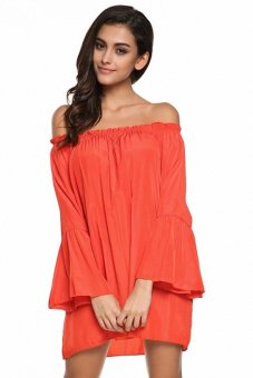 CatWalk Women Off-shoulder Flare Sleeve Pure Color Loose Shift Dress M-XXL (Red)