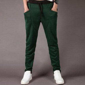 Men's fashion casual Outdoor jogging harem Sweatpants Slim Green - Intl