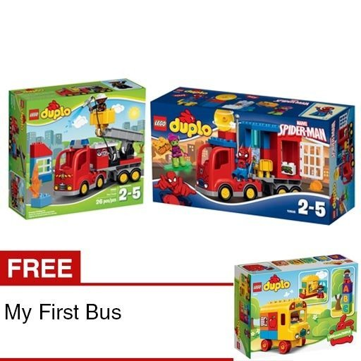 harga LEGO Duplo Super Heroes - Spider-Man Spider Truck Adventure & Fire Truck + Free LEGO My First Bus Lazada.co.id