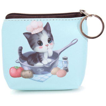 Cat Face Zipper Case Mini Pocket Coin Purse Cartoon Key Wallet Bag Pouch Color3 (Intl)