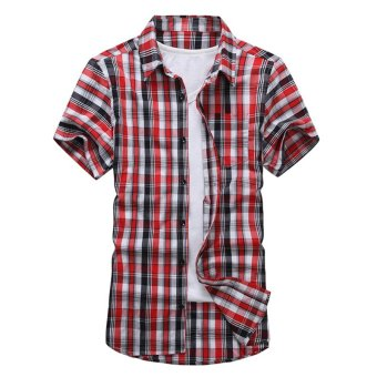 New Summer Plaid Casual Men Shirt Short Sleeve Big Size Youth Cotton Thin Shirts (Intl)
