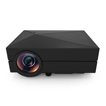 GM60 1000 Lumens HDMI Portable Mini LED Projector for Home Cinema Theater Entertainment Meetings Media Player Play Games Outdoor Activities with AV/VGA/USB/SD/Micro USB-Black - Intl