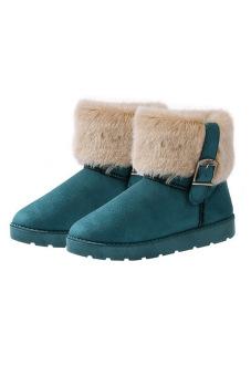 Toprank Winter Warm Thickened Fur Women Flat Short Ankle Snow Boots Winter Footwear Boot Shoes ( Green ) - Intl