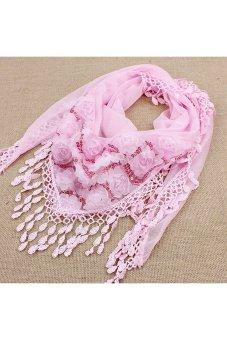 Amango Women Scarf Trigonometric Embroidered Pink (Intl)