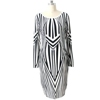 Cyber Womens Celebrity Floral Zebra Print Long Sleeve Bodycon Midi Dress ( Silver ) (Intl) (Intl)