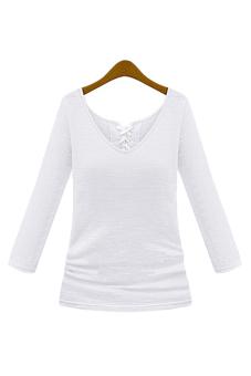 ASTAR Women V-Neck Slim Fit Stretch Long Sleeve Casual T-shirt Tops Blouse (White) (Intl)