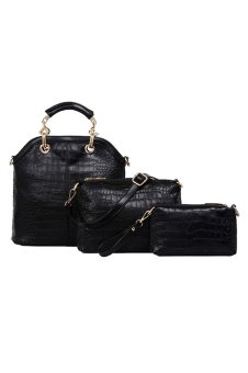 Three-Piece Female Crocodile Grain Bag Inclined Handbag (Black) (Intl)