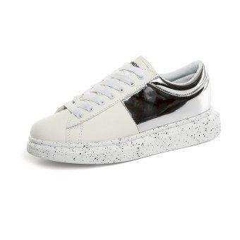 Lechgo Men's Fashion Lover Skater Flats Shoes Silver&White- Intl