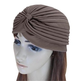 C338 Hairband Hats Bandana Wrap Hair Loss Chemo Solid Fancy Indian Headkerchief Color Khaki - Intl