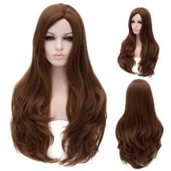 Cosplay Wig Dark Brown Off-Center Long Curly Hair Wig (Color: Brown) (Intl)