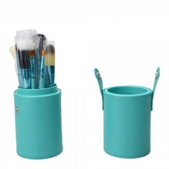 12pcs Blue Professional Makeup Brush Set Kit with Leather Cup Holder Case - INTL