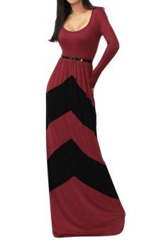 Toprank Autumn Winter Maxi Dress With Belt Fashion O-Neck Long Sleeve Strap Printed Long Dress Women Party Dress ( Red )