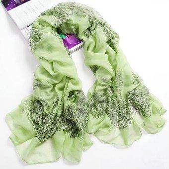 New Brand Fashion Soft Women Long Print Cotton Scarf Wrap Ladies Long Shawl Green (Intl)