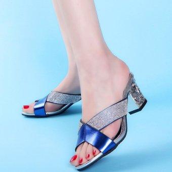 2016 Female Diamond Women Sandals Elegant Square Heel Party Summer Woman High Heel Sandals Open Toe Shoes 186p25- Intl