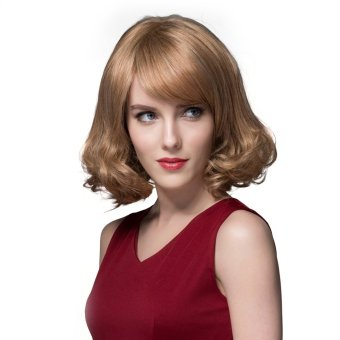 EOZY Sexy Women Girl's Short Curly Hair Wigs 100% Natural Human Hair Full Wig (Brown With Blonde) (Intl)