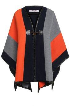 Azone Angvns Fashion Lady Patchwork Wrap Shawl Cape Casual Poncho Cloak Coat Outerwear (Orange) - Intl