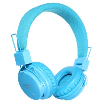 Foldable Wireless Bluetooth Headset Stereo For iPhone Samsung (Light Blue)