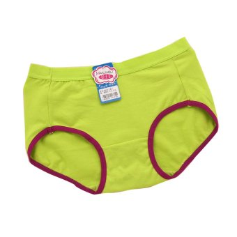 Young Girls Candy Color Cotton Panties, Green Large Size