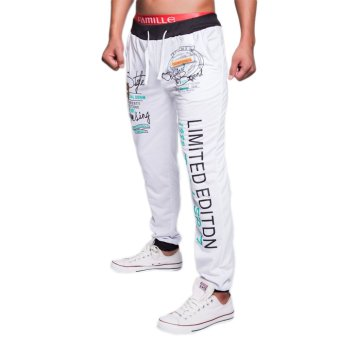 EOZY FASHION Men Sport Sweat Pants Korean Style Male Casual Pants English letters Pattern Baggy Dance Training Running Jogging Trousers (White) (Intl)