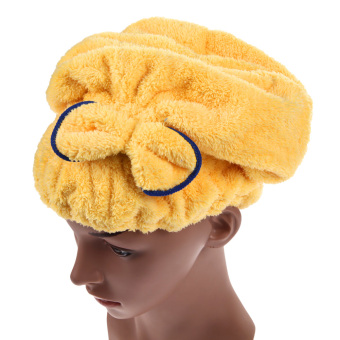 Microfiber Hair Turban Quickly Dry Hair Hat Yellow (Intl)