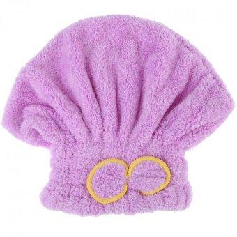 Microfiber Hair Turban Quickly Dry Hair Hat Wrapped Towel Bath (Purple) (Intl)