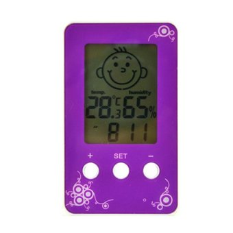 Digital LCD Thermometer Hygrometer Clock (Purple)