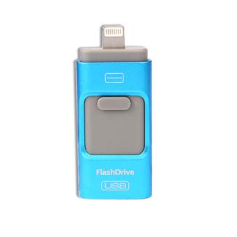 harga i-flashdrive 3 in1 USB Flash Drive 64GB OTG For iphone 5/5s/6/6s/plus Mirco for ipad / android(Blue) Lazada.co.id