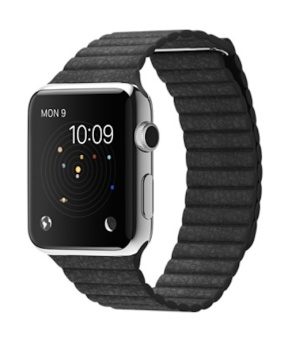 Apple Watch 42mm Stainless Steel Case with Leather Loop - Hitam