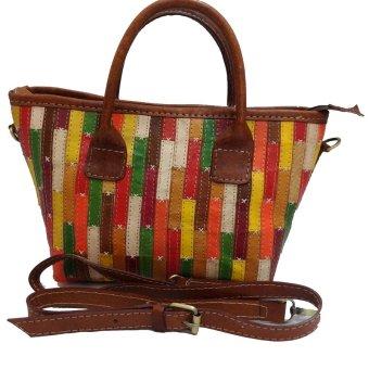 LIN'S Craft Tas Kulit Kapal Perca Tahu - Dominan Warna Coklat Tua
